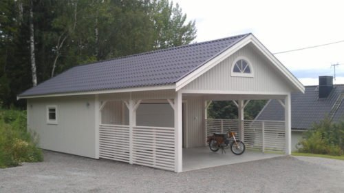 Garage med carport 6,0 x 10,8 m