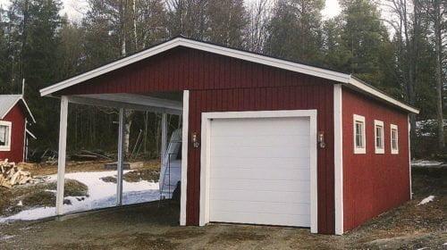 Garage med carport 6,0 x 8,4 m