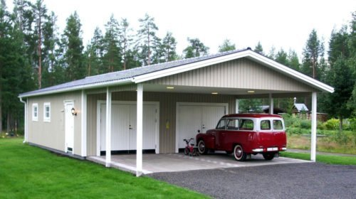 Garage med carport 7,2 x 14,4 m