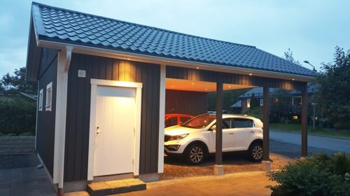 Garage med carport 6 x 8,4 m